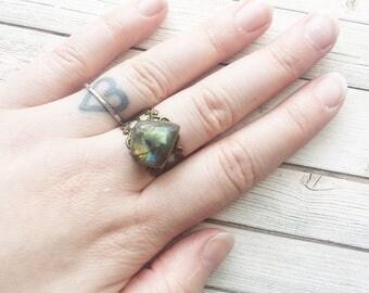 Labradorite Adjustable Ring | Labradorite Ring | Labradorite Jewellery | Crystal Ring | Filigree Ring | Chunky Ring | Statement Rings |
