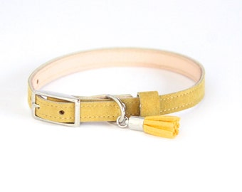 Cat Collar / Small Dog Collar // Mustard // Optional ID Tag