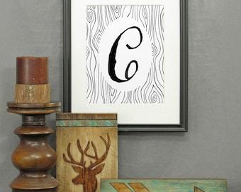 Large Letter C Print, printable letter art, letters, typography, monogram art, modern rustic décor, alphabet, poster, initials, wood grain