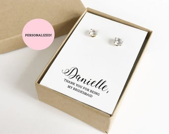Personalized Thank You For Being My Bridesmaid Jewelry Boxes (Earrings not included) | Gift Boxes | Jewelry Box | Bridesmaid Gifts | SJBS3-P
