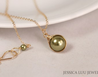 Gold Green Pearl Necklace Wire Wrapped Jewelry Rose Gold Necklace Rose Gold Jewelry Green Pearl Jewelry Bridal Pearl Necklace and Earrings