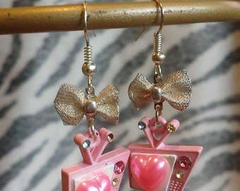Pink Retro TV Earrings