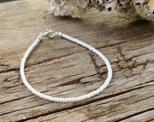 pure white anklet beach surfer slimline anklet for Weddings and Holidays cruise nautical