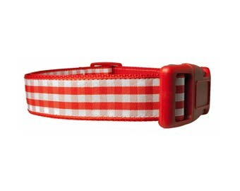 "Gingham Red 1"" Dog Collar"