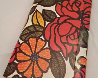 "Vintage Funky Floral Tri Fold Photo Album 10 3/4"" by 5 1/2"" Made In Hong Kong Holds 108"