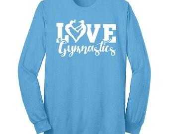 Love Gymnastics Heart Shirt Gymnast T Shirt Long Sleeve White Ink