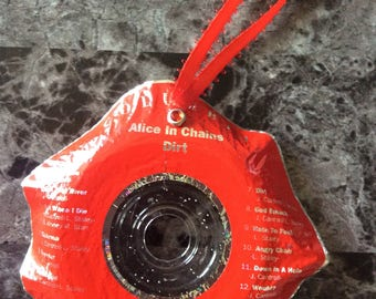 Christmas Ornaments Handmade -Alice in Chains- Christmas Decoration, Upcycled Recycled Repurposed, Birthday, Home Decor Wall Art, Home Decor