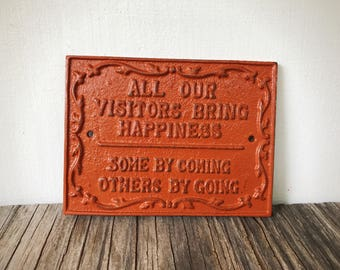 Funny Farmhouse Sign / Guest Room Sign / Burnt Orange Rustic Entryway Sign / Country Chic Funny Welcome Signs / Housewarming Gift for Her