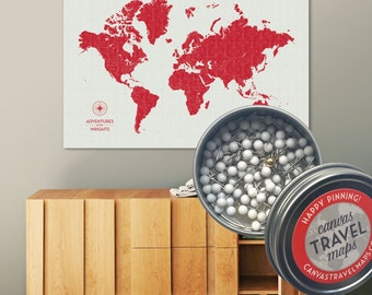 World Map, Travel Map, Push Pin World Map, Push pin Travel Maps, World Map Push Pin, Vintage, Antique, World Map Wall Art, World Map poster