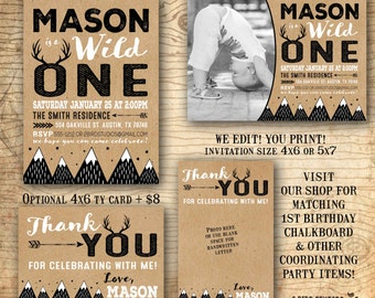 Wild one birthday invitation - first birthday invitation - tribal birthday party invitation - boho woodland fox - rustic vintage - U print