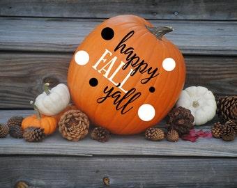 Happy Fall Y'all Pumpkin Monogram Decals - Custom Pumpkin Decals