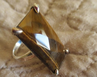 Vintage 925 Canadian Agate Brown Polished Stone Ring in 925 Sterling Silver Setting, SIZE 8, Runway Statement Ring, Mother's Day Gift