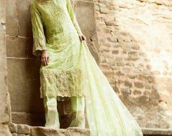 Saira Rizwan original luxury chiffon, 3-pc stitched, shalwar kameez, pink granet, Pakistani clothing