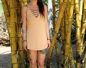 Laced Up Dress / Sleeveless Dress / Boho Mini Dress / Music Festival Dress / Festival Mini Dress / Psy Dress
