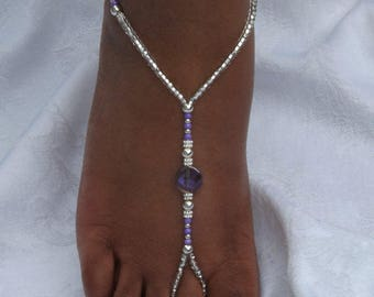 Purple Beaded Barefoot Sandals Foot Jewelry Beach Wedding Barefoot Sandal Lavender Plum Wedding Shoes Bridal Shoes
