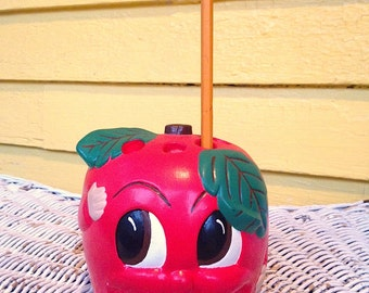 Vintage Chalkware Anthropomorphic Apple Pencil Holder Big Eyes