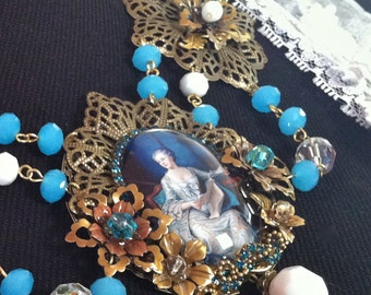 """SALE now 97.30 Statement necklace """"Versailles"""" , a magnificent piece created from brass filigrees and flowers, glass cameo, crystal beads."""