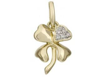 White Diamond and 14k Solid Gold Four Leaf Clover Pendant Charm, 14k Diamond Four Leaf Clover Charm, Fine Jewelry Supplies