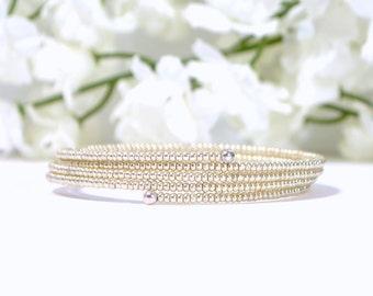 Memory Wire Bracelet Silver Cuff Bracelet Handmade Coil Bracelet Bangle