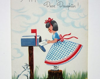 Vintage Unused Embossed Happy Birthday Greeting Card to a Daughter Featuring a Young Girl at a Mailbox with Yellow Flowers and a White Cat