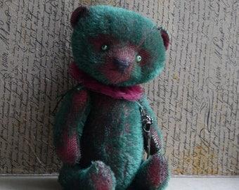 OOAK Artist Teddy Bear Green Raven/Green Mohair /7 inches tall