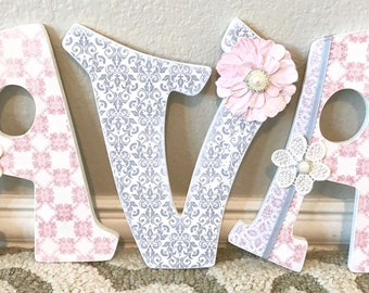 Custom Wooden Nursery Letters - Baby Girl Nursery Decor- Personalized Name- wall letters- any color, theme, bedding-The Rugged Pearl