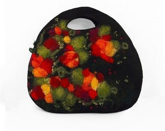 Felted Bag Black Purse Fairy Purse Felt Bag Black Bag Nunofelt Purse
