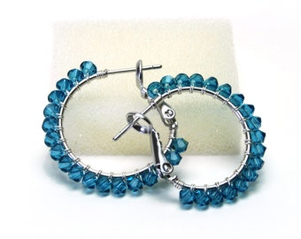 """Teal Crystal Hoop Earrings - Wire Wrapped Indicolite Swarovski Crystal, Silver Plated Hoops (20mm, Beaded 1"""")"""