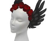 Custom for Alice : Black Swan Headdress with Red Roses