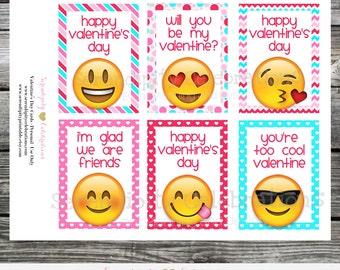 Instant Download, Printable Valentine Cards, Emoji Valentine's Day Cards, Classroom Cards, Valentine's Day, Kids Valentine Cards, Emoji Tags