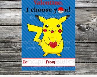 Instant Download, Printable Valentine Card, Pokemon, Pikachu Valentine Cards, Gaming Valentine Cards, I choose you, Pokemon Sticker