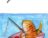 Go Slow Card - Tiger Card - Fishing Card - Zen Card - Relax Card - A7 Greeting Card