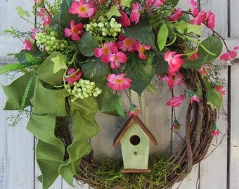 Spring Wreath - Birdhouse Wreath - Summer Wreath - Country Twig Wreath - Pink Wreath - Easter Wreath - Rustic Wreath - Mothers Day Wreath