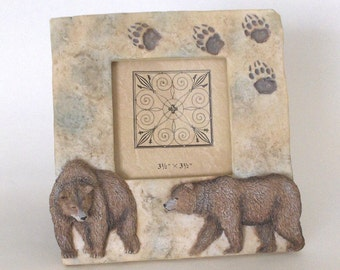 PICTURE FRAME BEARS 2 Grizzly Bears look like they have been carved on the frame Four Paw prints are carved The frame has a stone look