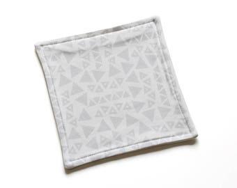 SALE || Organic Reusable Cloth || 18cm x 18cm || Tribal Triangles Grey on White || Organic Backing