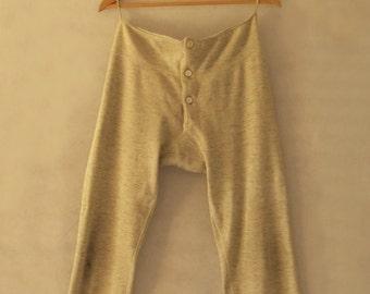 1910s Antique Clothing - Grey Woollen Long Johns, Men's Long Underpants - Mens Vintage