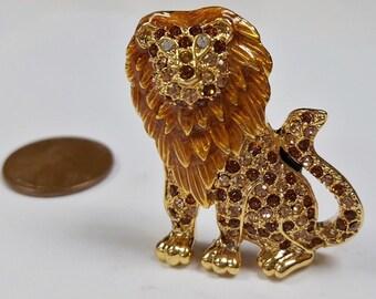 1 Brown Enamel Lion Rhinestone Gold 35x29mm. Cabochon Finding E242