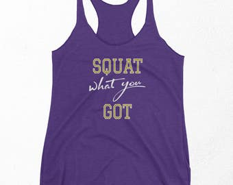 Squat Tank Top, Gym Workout Shirt, Funny Weight Lifting Clothes, Lift, Best Friend Gift For Her, Racerback Tank, New Years Resolution