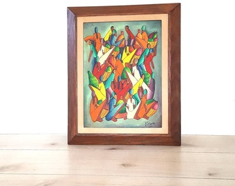 Mid Century Oil Painting Abstract Art ~ Signed Colorful Vintage Framed African Tribal Villager Farmer Market Abstract Art ~ P Pierre