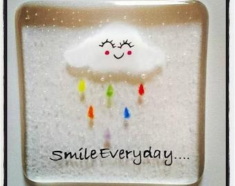 Smile Everyday Fused Glass Coaster, Rainbow Rain Cloud