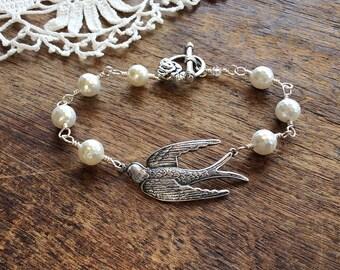 Silver Swallow & Pearl Bracelet - bird bracelet nature bracelet swallow bracelet silver bracelet