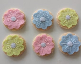 Pretty pastel Felt play food - flower iced cookies
