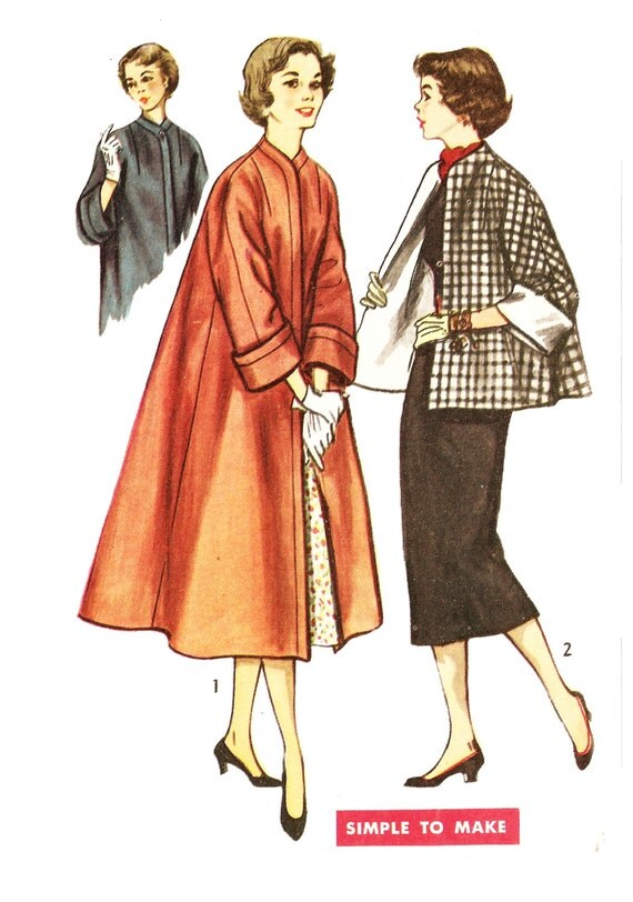 Simplicity 4191 Misses Vintage 1950s Swing Coat Or Topper