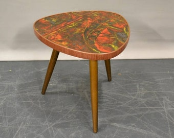 Retro  mid century side table kidney shaped - plant stand tripod 1950 - 1960