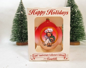 Campbell's Soup Christmas Ornament,  Boxed 1990s