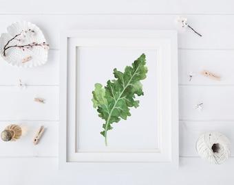 Kitchen printables - Vegetable print - Kitchen decor - Kitchen wall decor - Minimalist art - Plant prints - wall art prints - Kale print