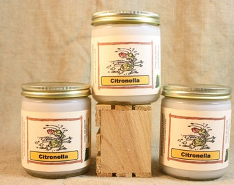 Citronella Candle, Highly Scented and Long Lasting 16 Ounce White Citronella Candle