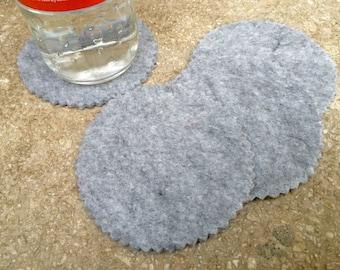 Gray Round Felt Coasters, Wool Coasters, Simple Coasters, Coaster Set, Drink Coaster