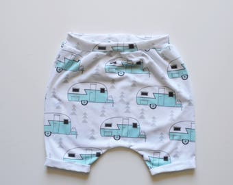 Vintage camper harem shorts