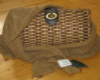 LAURA ASHLEY Vintage 90's Cotton Cobweb Scarf in Acorn and Laura Ashley Country Trend Rattan Wicker Clutch Bag